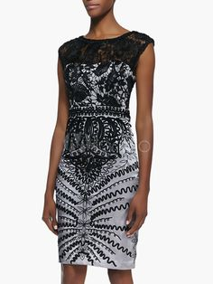 Embroidered Acetate Lace Party Dress