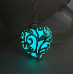 Turquoise Glow In the Dark Heart Necklace Pendant Christmas Gift for Daugther or Mum