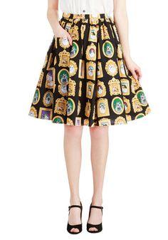 Pretty as a Purr-trait Skirt   Mod Retro Vintage Skirts   ModCloth.com