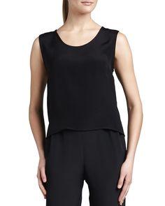Silk Crepe Tank, Black, Women's, Size: 3X - Caroline Rose