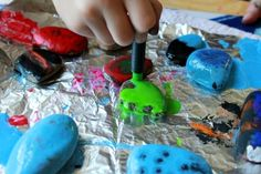 Melted Crayon Rocks - Collect Rocks. Put in 350* oven on foil lined cookie sheet to heat up. Pull out and put on protected surface. Touch Crayon to rock to melt it. Let sit to harden.