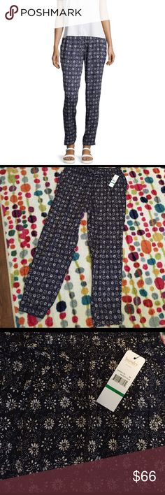 Laundry by Shelli Segal relaxed fit print pants Super comfy and adorable lightweight, relaxed fit pants!  Pretty floral pattern in navy blue and white.  Great option for a casual spring/summer day paired with a simple white top and sandals.  Elastic/tie waist adds to the comfort.  Inseam is approx. 30in.  100% rayon, machine washable. Laundry by Shelli Segal Pants
