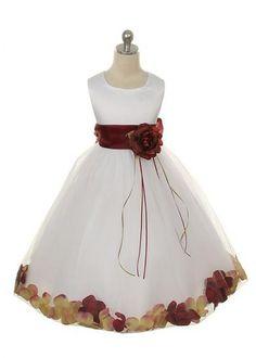 Burgundy Flower Petal Girl Dress with Sash