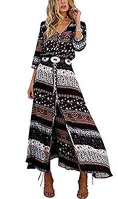 Sweetwill Boho Maxikleid Blumen Lange Sommerkleider Damen Maxi Strandkleid  Casual Langarm V-ausschnitt Vintage Kleid 3227c0be19
