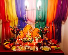 Ganpati Pandal Decoration      Lord Ganesha   Pinterest   Decoration     How colorful Paper ribbons looks preety and add a nice color pop to the  festive decoration