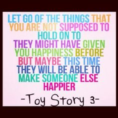 Toy Story  always has such a sweet story without the need of much romance it focus on friendship most people dont now a days all they worry about is how to impress their boy/girlfriends they dont care about family and friends and to me those are the most  important people in your life espeacially family