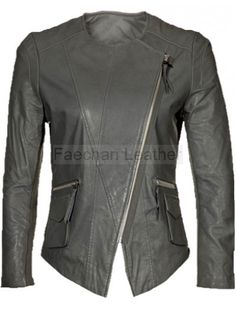 Influential Collarless Grey Leather Jacket