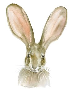 Jack Rabbit watercolor giclée reproduction.Portrait/vertical orientation. Printed on fine art paper using archival pigment inks. This quality printing allows ov