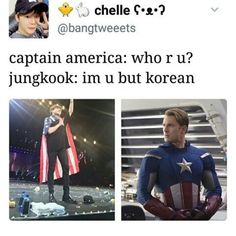 Captain jungkook is better in my opinion - Visit to grab an amazing super hero shirt now on sale! Bts Memes, Funny Memes, Blackpink Funny, Bts Jin, Bts Jungkook, Kpop, About Bts, Vixx, K Idols