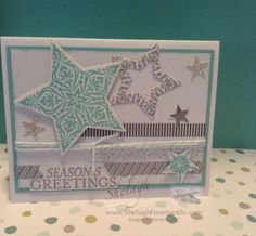 Whisper White Card Stock.....8-1/2 x 5-1/2 score @ 4-1/4, 5 x3-1/2, & 3x 6 for stars and greeting  Pool Party...5-1/4 x 3-3/4   Washi Tape..All is Calm  Stamp Set...Bright and Beautiful  Stars Framelits and the mini star from the Itty Bitty Accents Punch Pack..( you will use this lots!!)  Accessories used....Bakers Twine..appr 20 inches to wrap, Dimensionals, Multi Purpose Glue and of course scraps of the Silver Glimmer (# 135314 ) & Brushed silver ( # 100712 ) papers.