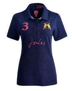 Joules BEAUFORTLARK Womens Polo, French Navy. Our classic polo shirt has earned its stripes. Bursting with brightness and made to add a fresh feel to any look. Adorned with lovingly-designed badging and embroidery and crafted from hardwearing cotton pique.