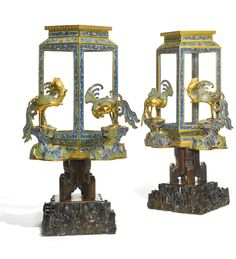 Set of 4 Chinese Cloisonne Enamel 'Phoenix' Lanterns. Qing Dynasty, Qianlong Period. Sold Sotheby's Auction in 2014 for US$156,000