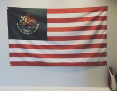 Represent your heritage and where you live with this beautifully designed Mexican American flag