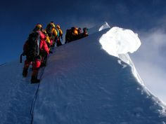 Mount Everest at the Hillary Step where many climbers have lost their lives