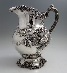 Antique Sterling Silver Pitcher with Roses, by Fuchs. 1898.