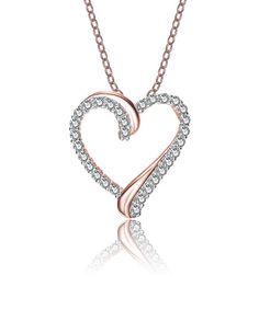 Rose Gold & Lab-Created Diamond Heart Pendant Necklace