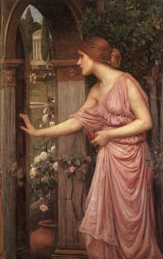 """Psyche Opening the Door into Cupid's Garden"".  (1904).  ""Psiquê Abrindo a Porta do Jardim do Cupido"". (by John William Waterhouse)."