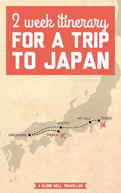 I'm about to jet off to this Asian country full of colourful temples, historic shrines, and perfectly manicured zen gardens. Here's my 2 week itinerary for a trip to Japan! / A Globe Well Travelled Japan Travel Tips, Travel Tours, Asia Travel, Travel Guide, Travel Plan, Zen Gardens, Courtyard Gardens, Cottage Gardens, Small Gardens