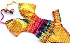 Rainbow Crochet Monokini Women Swimwear Swimsuit Bikini Boho Bikini Festival Clothing Mustard Yellow Bohemian senoAccessory