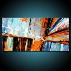 Abstract Painting MADE TO ORDER Original Modern 48x24 Canvas Acrylic Blue Brown…
