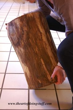 tutorial for DIY stump table.  Ive always wanted the West Elm one, but didn't want to pay two hundred bucks for it!