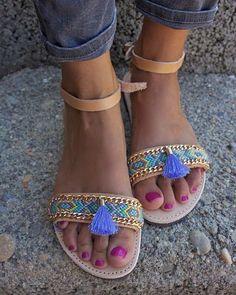 OOAK único griegas sandalias con pulsera de la amistad y de la borla