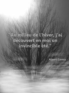 Gorgeous phrase by Albert Camus. Au milieux de l'hiver....in the middle of winter, I discovered an invincible summer in me.