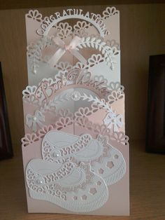 New baby girl card using tattered lace new zig zag die