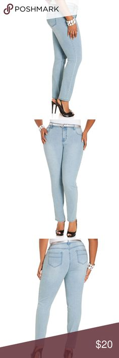 Light wash skinny jeans NWOT No wardrobe is complete without a pair of curve-loving skinny jeans. A killer addition to your fashion arsenal, this five-pocket style features a button front zip fly closure, a metal nameplate at back right pocket, and an average skinny leg silhouette.  Light pastel blue New without tags Ashley Stewart Jeans Skinny