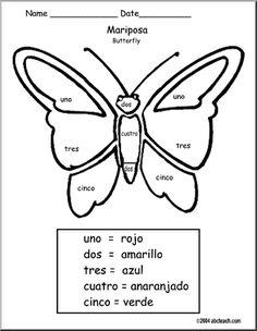 Spanish: Colorea por N�mero: Mariposa - Colorea por N�mero: Mariposa, Color by Number: Butterfly