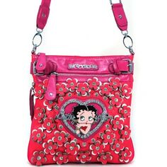 6c32d8dda51c Betty Boop® Classic Messenger Bag with Rhinestone Florets - Fuchsia Betty  Boop