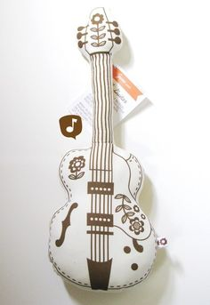 Folky Guitar Plush  - Eco Friendly - Vintage Hexagon Floral. $25.00, via Etsy.