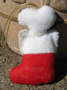 Snoopy Felt Ornament Christmas Stocking by RSWVintage on Etsy