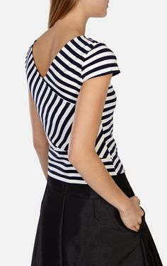 Graphic Stripe T-Shirt | Luxury Women's t-shirts | Karen Millen £55.00 (Spring 2015). Modern fitted cropped striped double knit jersey tee with cut out at neckline.