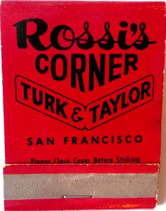 Rossi's Corner #frontstriker #matchbook To order your business' own branded #matchbooks GoTo: www.GetMatches.com or CALL 800.605.7331 TODAY!