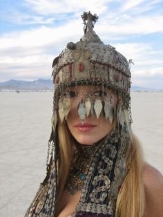 Amazing headdress from Burning Man | year, model, and photographer unknown