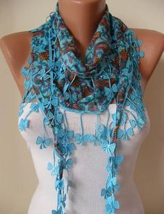 Blue and Brown Scarf with Trim Edge Shaped by SwedishShop on Etsy