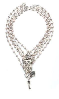 Multi-Strand Necklace with Cultured Freshwater Pearls and Sterling Silver Charms - Fire Mountain Gems and Beads