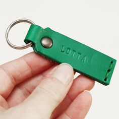 Green leather key ring with your name by idavictoria on Etsy, $17.00