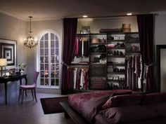 No room for a closet? This closet uses a curtain to conceal it.