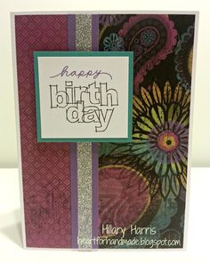 CTMH Laughing Lola Birthday Card with one of the new mini stamps and shimmer trim!