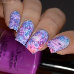 Lina Nail Art Supplies Stamping Designs Mad For Mandalas 01 smooshy mani base using neons
