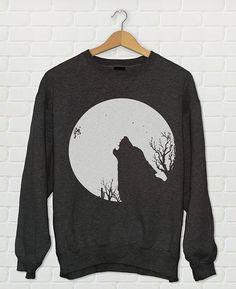Wolf  Full Moon Crewneck Sweatshirt // Boho Sweater by Clarafornia