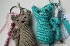 Kattensleutelhanger haken Crochet Animals, Crochet Toys, Free Crochet, Knit Crochet, Cat Crafts, Diy And Crafts, Wrapping Ideas, Crochet Keychain, Amigurumi Doll