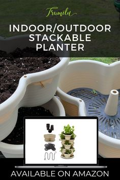 Planter for herbs, strawberries, small vegetables like peppers, succulents, flowers. The container is lightweight so it can be moved, can stack from 2 - 5 planters, hangable when using 3 planters. It's versatile and has slick curvey design. The planter has filters and drainage holes are elevated so it has a reservoir. You can also drill more holes easily for more drainage if you don't need the reservoir. It comes with a tray so no water mess. Extra starting pots included! #trumilu #herbs… Vertical Planter, Herb Planters, Outdoor Planters, Hanging Planters, Garden Pots, Outdoor Gardens, Indoor Outdoor, Herbs Garden, Container Gardening