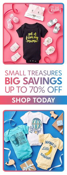Sign up to shop baby gear, clothing, and accessories, up to 70% off. Prepare for welcoming your new baby to your home by stocking up on baby essentials. From cute baby clothes, funny baby bodysuits, and baby shower gifts to feeding gadgets and nursery essentials, our affordable selection features a wide variety and great prices.