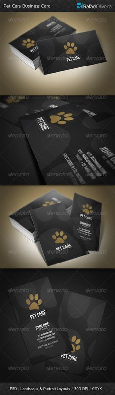 Pet Care Business Card — Photoshop PSD #bold #elegant • Available here → https://graphicriver.net/item/pet-care-business-card/3021638?ref=pxcr