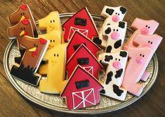 Barnyard Cookies ~ Custom Sugar Cookies ~ Kids Birthday Party ~ Boy or Girl Farm Birthday Cakes, Rodeo Birthday Parties, Farm Animal Birthday, 1st Boy Birthday, Birthday Cookies, Birthday Ideas, Petting Zoo Birthday Party, Paris Birthday, Birthday Banners