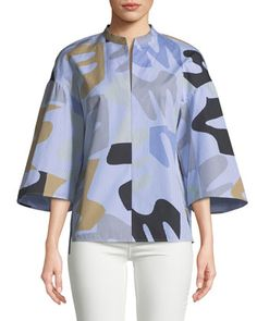 Lafayette 148 New York Carla Urban Ethos on Stripe Shirting Blouse Urban Fashion Women, Lafayette 148, Silk Crepe, Fall Trends, Autumn Winter Fashion, Turtle Neck, Neiman Marcus, Blouse, Fashion Design