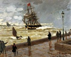 The Jetty of le Havre in bad weather by Monet